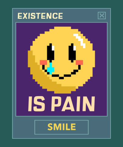 T-Shirt Design Creator with a Happy Crying 8-bit Emoticon 3355c