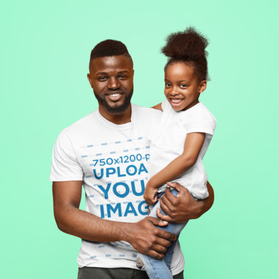 Crew Neck T-Shirt Mockup of a Happy Father and His Daughter Posing at a Studio 46090-r-el2