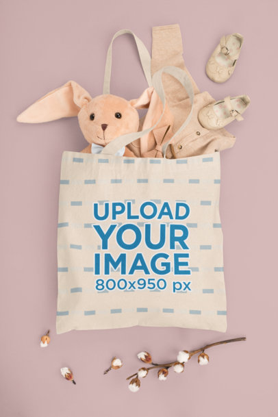 Mockup of a Tote Bag Filled With Baby Stuff M1142