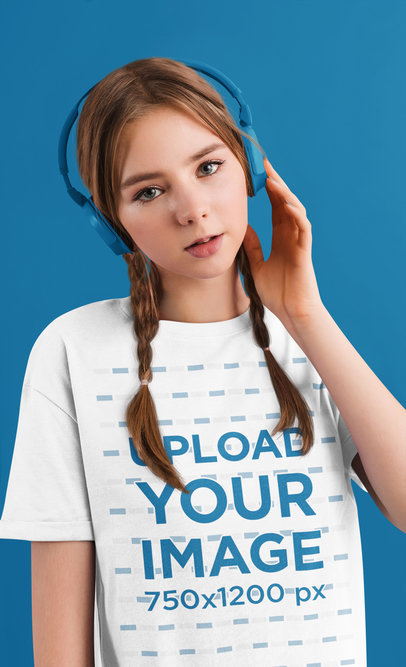 T-Shirt Mockup of a Woman with Braids Listening to Music 46175-r-el2
