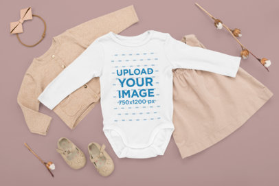 Onesie Mockup Featuring a Fall Baby Outfit M1140