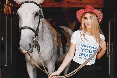 T-Shirt Mockup Featuring a Cowgirl with Her Horse 42483-r-el2
