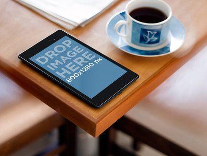 Nexus 7 Black Portrait With Newspaper And Coffee