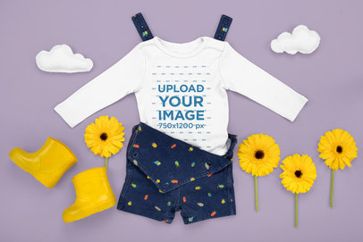 Long Sleeve Onesie Mockup Featuring a Spring-Season Outfit M1147