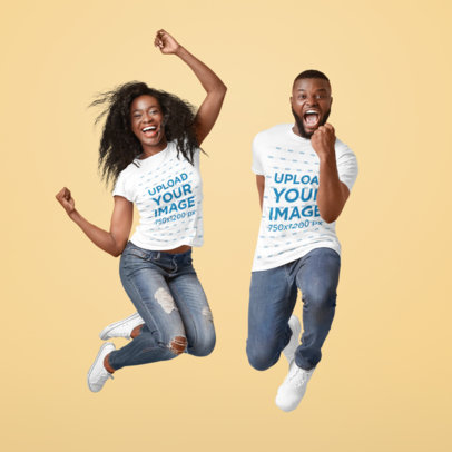 T-Shirt Mockup of a Man and a Woman Jumping in Front of a Colored Backdrop 46347-r-el2
