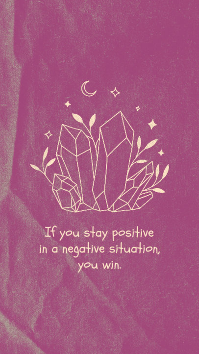 Illustrated Instagram Story Generator Featuring a Quote and Mystical Crystals 3339h