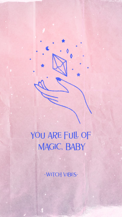 Instagram Story Template Featuring an Illustration of a Hand and a Magic Crystal 3339l
