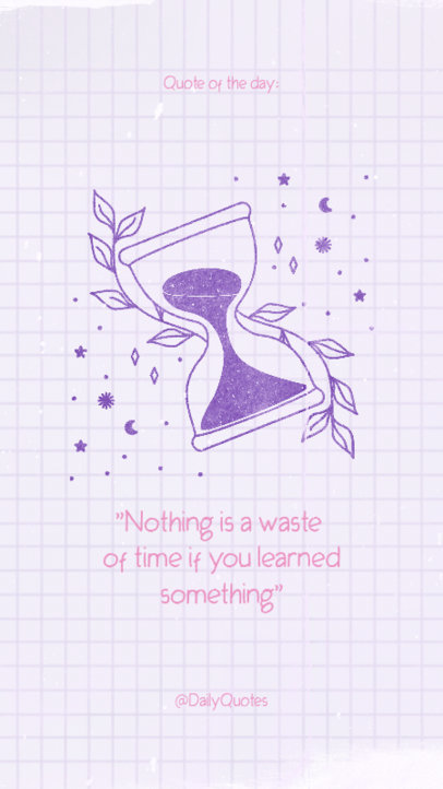 Instagram Story Maker Featuring a Quote on Time and an Hourglass Clipart 3339m