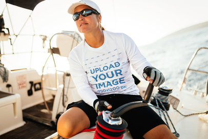 Long Sleeve Tee Mockup Featuring a Woman on a Fishing Boat 40628-r-el2