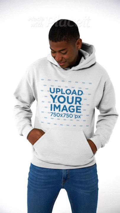 Pullover Hoodie Video Featuring a Man Standing in a Studio 43760v