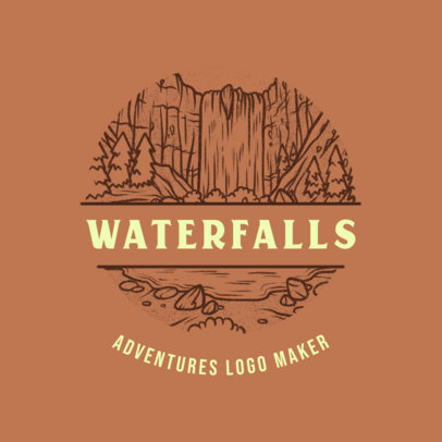 Outdoors Travel Agency Logo Template with a Waterfalls Graphic 4020i