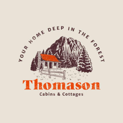 Logo Generator for Cabin Rentals Featuring a Cottage Illustration 4028h