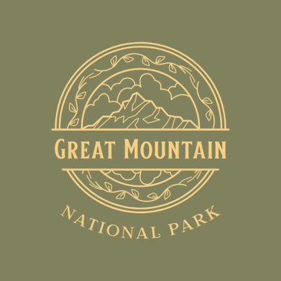 Logo Template for an Outdoors Theme Park with a Mountain Icon 4020t