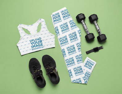 Gym Outfit Mockup Featuring a Sports Bra and a Pair of Leggings m1206