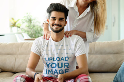 T-Shirt Mockup of a Man Being Pampered by His Girlfriend 42569-r-el2