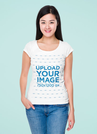 T-Shirt Mockup of a Smiling Woman with Long Hair at a Studio 46722-r-el2