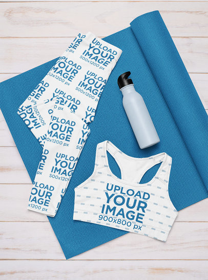 Leggings and Sports Bra Mockup Featuring a Yoga Outfit m1189