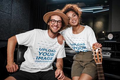 T-Shirt Mockup Featuring Two Happy Musicians at a Studio 39748-r-el2