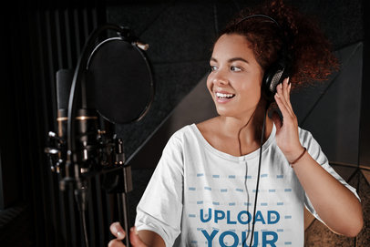 T-Shirt Mockup of a Curly-Haired Female Singer at a Music Studio 40208-r-el2