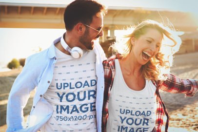 T-Shirt and Tank Top Mockup Featuring Two Friends Laughing 41077-r-el2