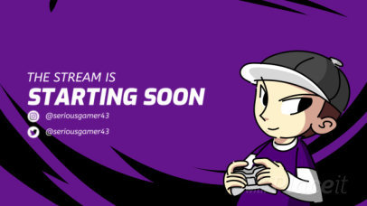 Twitch Starting Soon Screen Video Maker with an Animated Gamer Character 2612