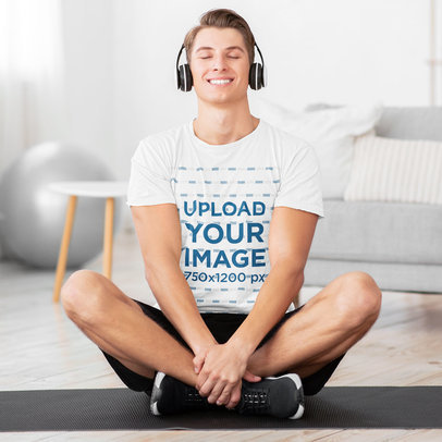 Activewear Mockup of a Man With Headphones Wearing a T-Shirt 42039-r-el2