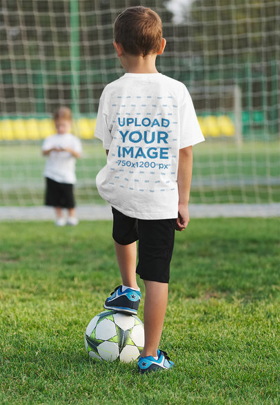 T-Shirt Mockup of a Little Boy Playing Soccer 35679-r-el2
