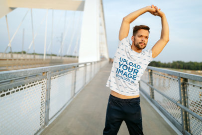 Sublimated Tee Mockup Featuring a Man Stretching Before a Run 40666-r-el2
