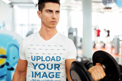 V-Neck Tee Mockup Featuring a Man Doing Bicep Curls at the Gym 41927-r-el2