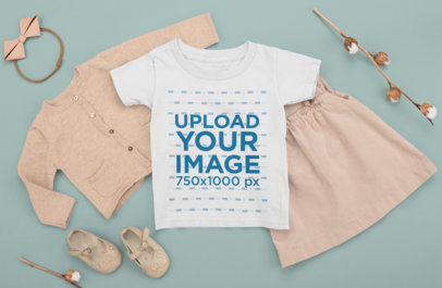 T-Shirt Mockup Featuring a Baby Girl's Autumn Outfit m1139