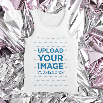 Tank Top Mockup Featuring a Shiny Texture in the Background M1161