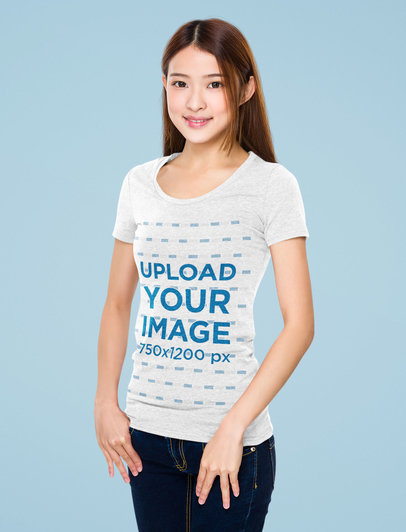 Heathered T-Shirt Mockup Featuring a Young Long-Haired Woman 46671-r-el2