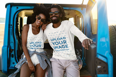 Long Sleeve Tee and Tank Top Mockup Featuring a Happy Couple on a Road Trip 45660-r-el2