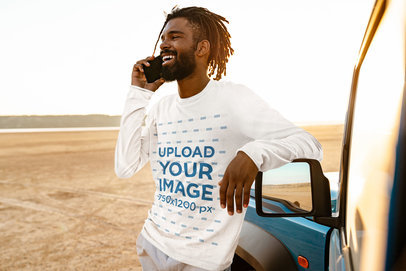 Long Sleeve Tee Mockup Featuring a Happy Man Making a Call by His Car 45794-r-el2