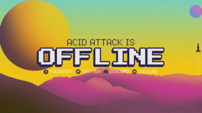 Twitch Offline Banner Creator Featuring Purple Clouds and a Yellow Moon 3370a