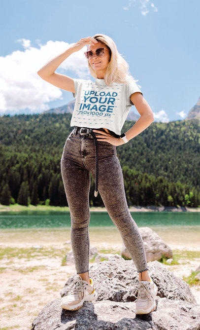Crop Top Mockup of a Stylish Woman in Nature 42090-r-el2