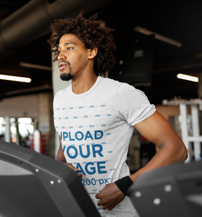 Activewear Mockup of a Man Wearing a Heather T-Shirt at the Gym 42644-r-el2