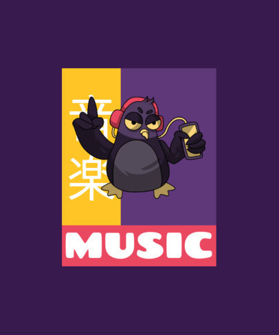 Illustrated T-Shirt Design Generator Featuring a Pigeon with Headphones 3462d-el1