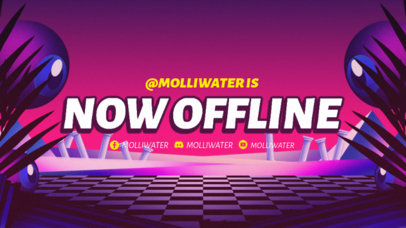 Twitch Offline Banner Template with a Surralistic Scenario as Background 3370b