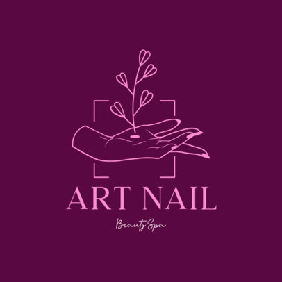 Illustrated Logo Maker for a Nail Spa Featuring a Hand Drawing 4046J