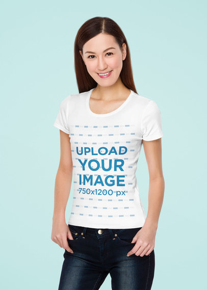 T-Shirt Mockup of a Happy Woman Posing in Front of a Customizable Backdrop 46734-r-el2