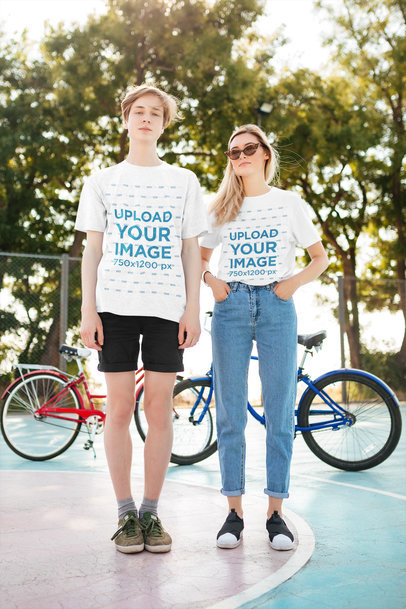 Basic T-Shirt Mockup of Two Young Friends Posing Together 41829-r-el2