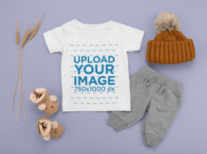 T-Shirt Mockup Featuring an Autumn Outfit for Kids M1135