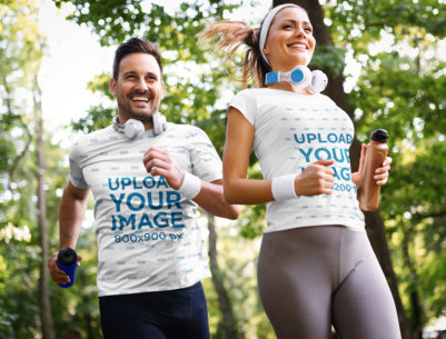 T-Shirt Mockup of a Man and a Woman Running in Nature 41074-r-el2