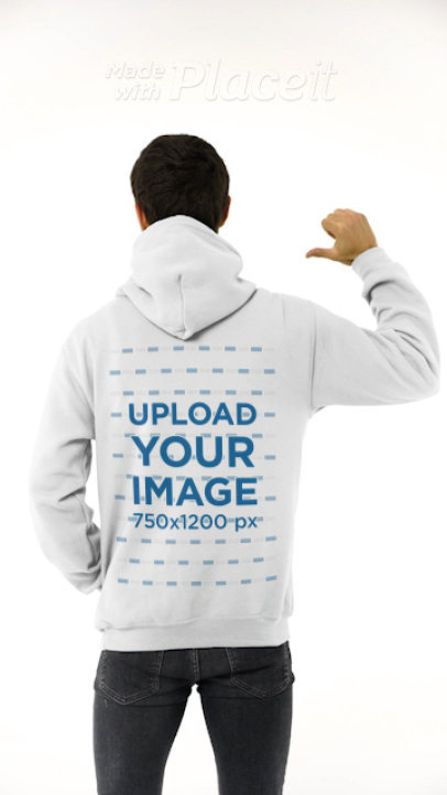 Back-View Video Featuring a Man Pointing at His Hoodie 44096v