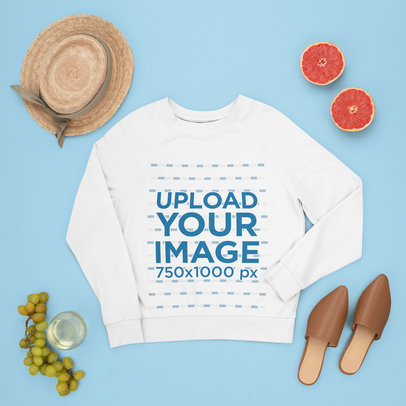 Mockup of a Crewneck Sweatshirt Surrounded by Fruits and Summer Accessories m1650