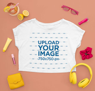 Crop Top Mockup Featuring Girly Accessories and a Refreshing Drink m1670