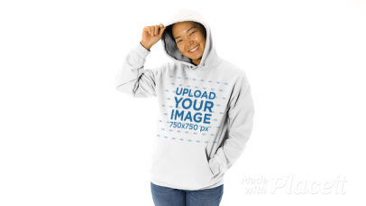 Video of a Happy Woman Showcasing Her Hoodie in a Studio 44636v
