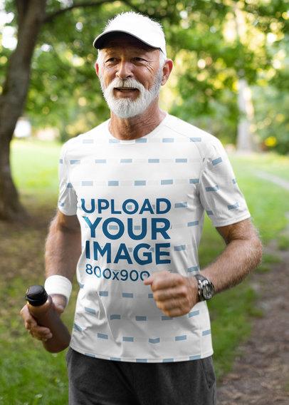 Mockup of a Senior Man Wearing a Sublimated T-Shirt While Jogging 40664-r-el2