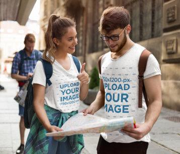 T-Shirt Mockup of a Man and a Woman Looking at a Map 42564-r-el2